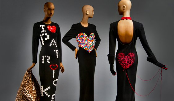 From left, two ensembles from Patrick Kelly's Fall/Winter 1986-87 collection, and an ensemble from Fall/Winter 1988-89. Courtesy of Philadelphia Museum of Art.