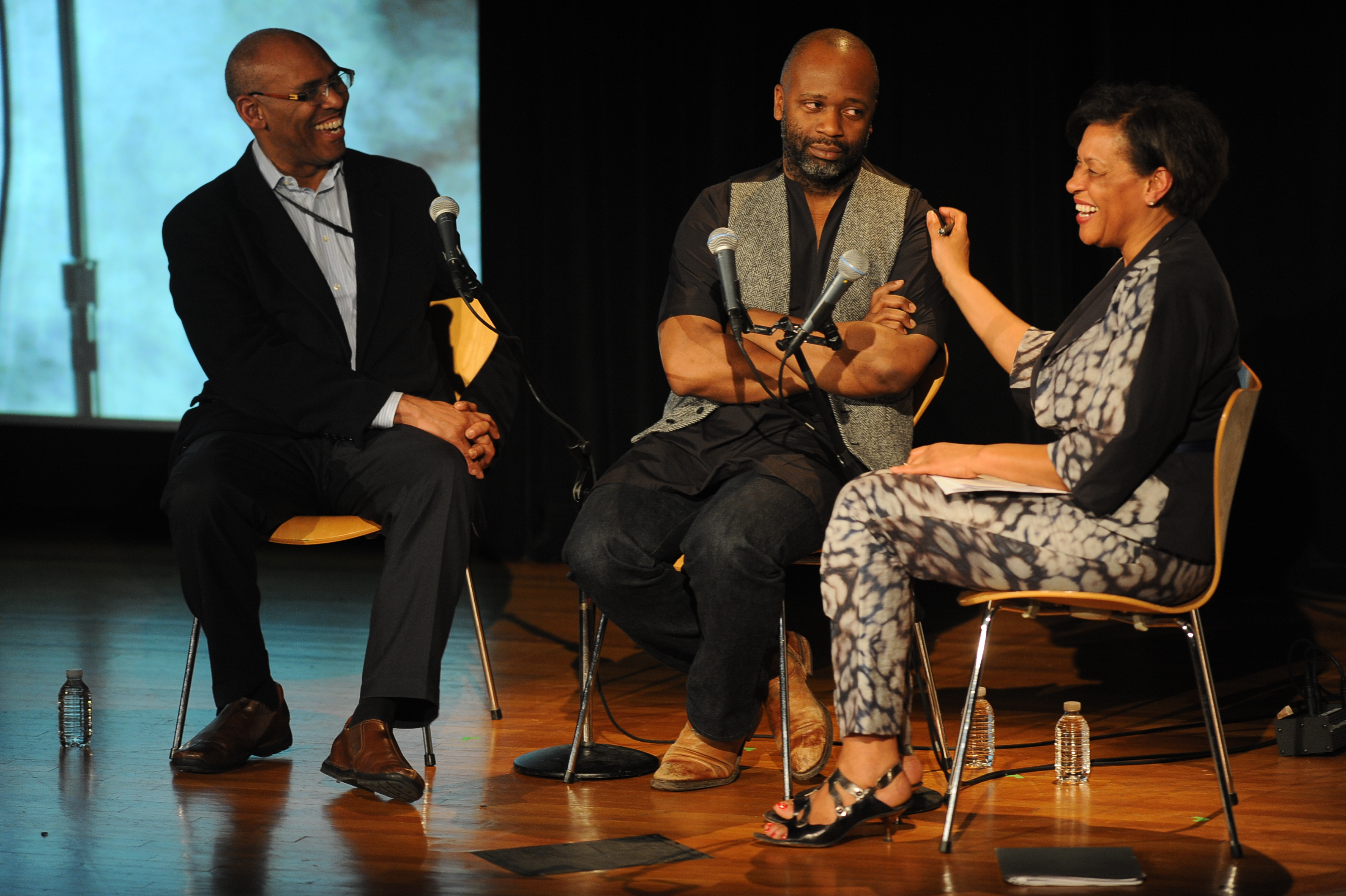 Rick Powell, Theaster Gates, Carrie Mae Meems (left to right)/Credit: Enid Alvarez.