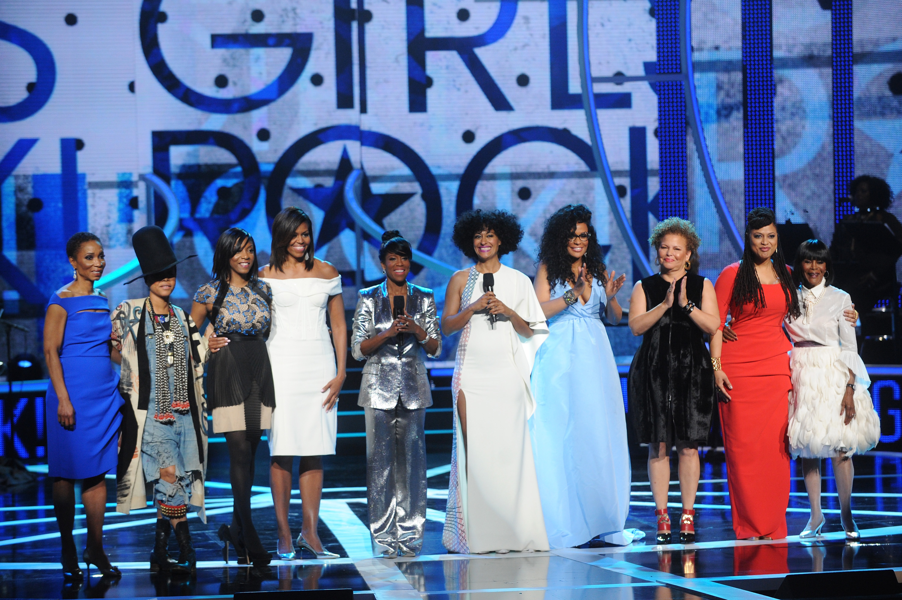 Dr. Helene Gayle, Erykah Badu, Nadia Lopez, First Lady Michelle Obama, Regina King, Tracee Ellis Ross, Beverly Bond, Debra Lee, Ava Duvernay, Cicely Tyson(l to r)/Courtesy of BET