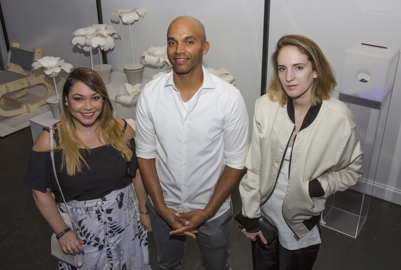 Setareh Parvin (left) stands with Kadir Nelson (center) and fellow finalist Arian Beauregard (right)./Courtesy: Hennessy.